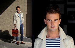 Alex from FOUREYES - Opening Ceremony Trench, Zara Top, Vintage Bag, Zara Shoes - Classic Stripes