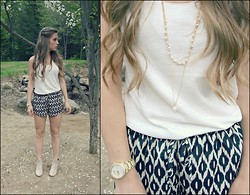 Rylee Jade - Lauren Conrad Necklace, Forever 21 Top, Cr Shorts, H&M Booties, Michael Kors Watch - Fresh Pearl