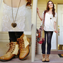 Shelly Stuckman - Free People Blouse, Steve Madden Thundr C, Forever 21 Necklace, Express Jeggings - Leather & Lace