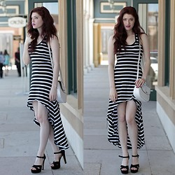 Victoria Jameson - Express Black And White Striped High Low Dress, Thrifted White Leather Purse, Steve Madden Black Sandal Pumps - I Got Stripes