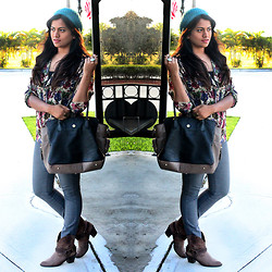Afroza Khan - Charlotte Russe Teal Beanie, Steps Ny Floral Blouse, Forever 21 Light Blue Pants, Traffic Shoe Summer Boots, Justfab Two Tone Handbag - Giveaway on the blog www.chicstylista.com <3