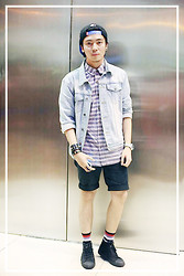 Francisco Reyes - Topman Aztec Button Down, Forever 21 Denim Jacket, Sm Accessories Spikes - Go See (from Status Magazine)