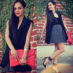Melanee Shale - Dailylook Polks Dot Skirt, Dailylook Essential Cami, Lush Clothing Tuxedo Vest, Dailylook Braided Envelope Clutch, Zara High Heel Pointed Heels - Black x Red x Two