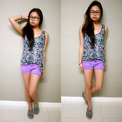 Lea Esguerra - Insight Snake Skindesigned Top, Purple Shorts, Sanuk Grey Sandals - Summer Heat