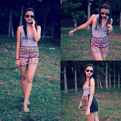 Rach Nathanielsz - Farmer's Aztec High Waist Shorts - Coachella Feels