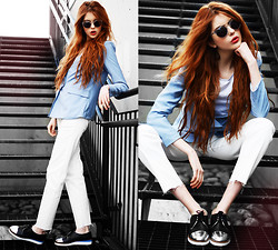 Ebba Zingmark - Le Bunny Bleu Shoes, 5preview Blazer, Getwear Jeans, E&E Glasses Sunnies - Crispy Blues