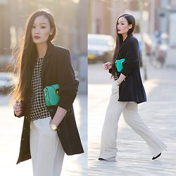 Levi Nguyen - Accessorize Green Box Bag, Mango Wide Trousers, Sylvia Luka Grid Top, Vintage Zipped Coat - FINDERS KEEPERS