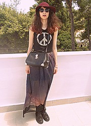 Stella Pnp - Romwe Peace Top, Chic Wish Doctor Bag, Your Eyes Lie Landscape Skirt, Giant Vintage Sunnies - Until the Earth is free
