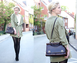 Joana ♡ - Vintage Bag, Ianywear Dress, Tamaris Shoes, Ziz Blazer - Hello khaki - a new color to me.