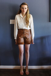 Jessica Morgan - Lanvin Vintage Blouse, Vintage Leather Lace Up Shorts, Michael Kors Pvc Strap Heels - Casual Friday