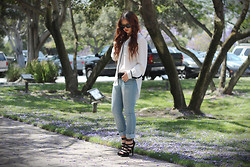 Cindy C. - Lush Blouse, Wet Seal Jeans, Pink Basis Heels, Ray Ban Sunglasses - We are young & blind