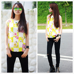 Belva P - Msgm Top, Zara Jeans, Ray Ban Sunglass, Chloé Studded Boots - Summer all around