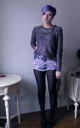Koraline M - F&F Silver Sweater, Tally Weijl High Waisted Shorts, Ebay.Co.Uk Litas, Silver Necklace - In the silver