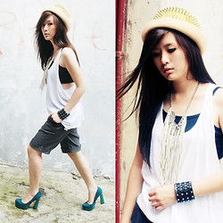 Wulan Wu - New Look Oversize Tank, May The 6th Be With You Spike Bowler Hat, Evb Platform - Minimalism