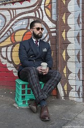 Jared Acquaro - Bailey Nelson Sunglasses, Oscar Hunt Shirt, Fred Perry Jumper, Apprentice Made Blazer Db, Jack London Check Trouser, Grenson Oxford Shoes - Caffeinated Dreams