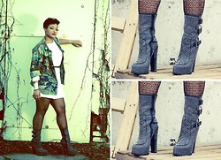 Dalton & Anastasia Bombers - Jeffrey Campbell, Lace Tights, Camo Jacket, Skinny Belt - Tough luxe