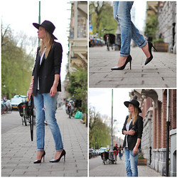 Raspberry & Rouge - H&M Hat, Mango Blazer, Zara Jeans, Zara Heels - THE NEW ICON