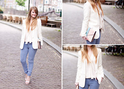 Samm ASCF - Mango Jacket, Supertrash Silk Top, Supertrash Silk Jeans, Supertrash Heels, Supertrash Clutch - Cream + purple blue