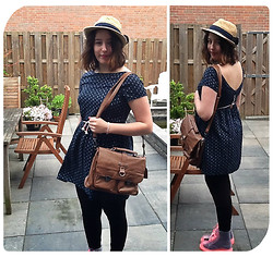 Marinda Z - New Look Hat, Pull & Bear Blue Dress, Gift From My Mom Bag, Chic Wish Shoes - Little Miss Sunshine