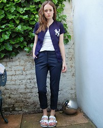 R F L - Zara Pinstripe Trousers - Feeling blue