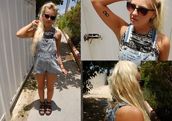 Nicola Boraston - Urban Outfitters Dungarees, Dr. Martens Liza Studded Sandal, Urban Outfitters Halter Crop Top - LIZA