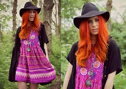 Heather C - Minkpink Bohemian Rhapsody Dress, Topshop Felt Fedora, Evil Twin Bad Habit Dress - Bohemian Rhapsody