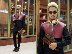 Andre Judd - Rj Santos Cropped Leather Oxblood Top, Geometric Weave Clutch, Sm Accessories Layered Neckpieces, Le Specs Ph Diamond Lens 'Rudeboy' Frames, Protacio Trousers, Marni Oxblood Leather Hybrid Loafers - MEETING NINA GARCIA (photo below)