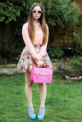 Jen Lou M - Primark Sunglasses, Barry M Lipstick, Claire's Neon Necklace, Forever 21 Coral Sheer Shirt, Primark Floral Chiffon Skater Skirt, Bank Neon Pink Satchel, Frontrowshop Galaxy Litas - Alice