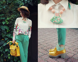 Shan Shan - Tinytoadstool, Enfold Pants, Acne Studios Shoes, Romwe Blouse - Blooming