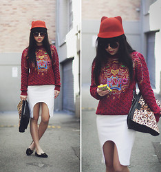 Willabelle Ong - Kitty Hat, Round Sunglasses, Kenzo Paris Tiger Knit Sweater, Céline White Celine Esque Cut Pencil Skirt, Faux Fur Leopard Print Clutch, Kitty Cat Flats - Kitty Vibes