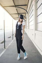 Michelle Madsen - Asos Hat, Zara Jumpsuit, Quay Sunglasses, Stance Socks, Miista Heels - SOMETHING BLUE