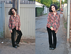 Maggie Silverman - Vintage Button Up, Betsey Johnson Velvet Pants, Jeffrey Campbell Bo Duke - Psych