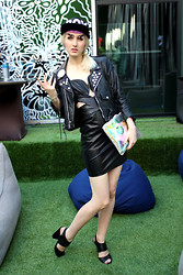 Stella Rose . - Boy London Hat, Chanel Brows, Vintage Customized Leather Jacket, Sena Leather Cut Out Dress, Cut Out Heels, Amanda Pearl Clear Clutch - Trip Hop