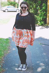 Becky Bedbug - River Island Sunglasses, River Island Cardigan, Topshop Dress, Converse - I know you and you know me
