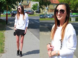 Ula H - Zara Blouse, Zara Shorts, Zara Boots, Chanel Bag, Miu Subglasses, Cartier Watch - White & black