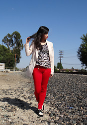 Wing Y. - Urban 1972 Nude Tuxedo, Sugarlips Top, Classic Red Skinnies, Urban Outfitters Oxfords - THE RED REALITY