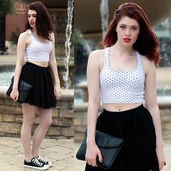 Victoria Jameson - Thrifted Black And White Polka Dot Cropped Tank, American Apparel Black Chiffon Double Layered Shirred Waist Skirt, Converse Black Low Top, Thrifted Black Leather Clutch - Polka Dots and Moonbeams