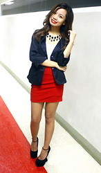Aoi Ue Imperial - Forever 21 Red Bandage Skirt, Attitudes Black Blazer, Syrup Black Heel Less, Cln Necklace - Boss