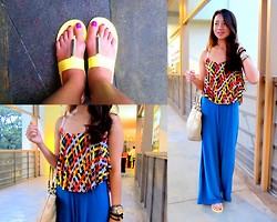Lui Raymundo - Bazaar Top, Baro For Stylista Wide Leg Pants, Bcbg Gel Flats, Coach Bag, Candies Armcandies - Daylight