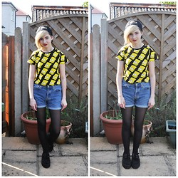 Cara E - Sheinside Bart Simpson Crop Tee, Size Black Snapback, Levi's® Shorts - LOCAL MAN RUINS EVERYTHING