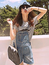 Stella Pnp - Romwe Mustache T Shirt, Dungarees, Giant Vintage Cat Eye Sunnies, Suit Bag - Hipster before it was mainstrem