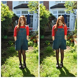 Ellie C - Handmade Red Knitted Sweater, Episode Dungarees, Underground Creepers - Embedded spies brainwashing our children to be mean