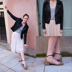 The Camelia - Bershka Perfecto, Zara Stripped Top, H&M Ballet Skirt, Zara Rhinestones And Spikes Flats - Ballerina