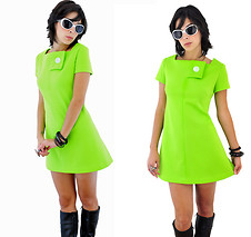 Nova Vintage - Vintage 1960's Space Age Lime Green Scooter Dress - LUSCIOUS IN LIME