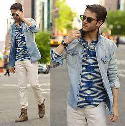 Adam Gallagher - Blue Henley, Denim Shirt, Off White Pants, Dark Brown Here  > Boots, Clubmasters - Blue hue's