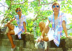 Dyosa Urquia - Sunnies Davao Aviator Flash Lens, Gant Oversized Checkered Polo, Sasson White Shorts - Summer Escape