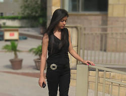 Himanshi Mukhija - Self Designed Top, Vibe Jeans, Penny Lane Belt - Different Shades of Black