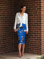 Kate Schneider - Forever 21 Sheer Blouse, Zara Floral Skirt - Blue