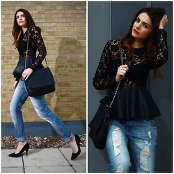 STYLISSIM . - Mango Boyfriend Jeans, Zara Top - LACE, LEATHER AND BOYFRIEND JEANS