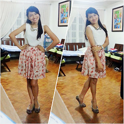 Czesca Dela Rama - Forever 21 Wing Like Collar Gold Necklace, Tomato White Watch, Kashieca White High Low Top (With Sheer Sides), Shapes Pink Floral Skirt - Mademoiselle
